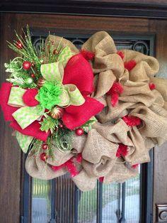 Burlap wreath for Christmas