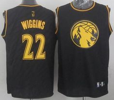 """$26.88 at """"MaryJersey"""" (maryjerseyelway@gmail.com) #22 Andrew Wiggins, #9 Ricky Rubio, #23 Kevin Martin - Timberwolves Black Precious Metals Fashion Stitched NBA Jersey"""