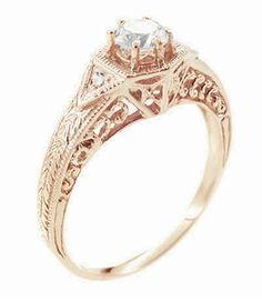 Art Deco 1/3 Carat Diamond 14 Karat Rose ( Pink ) Gold Filigree Engraved Engagement Ring  - Click to enlarge