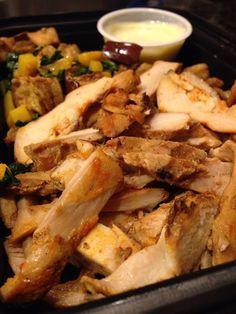 Peri Peri African Chicken with Chopped Spinach and Spiced Eggplant Chopped Spinach, Eggplant, Nom Nom, Spices, Pork, African, Meals, Chicken, Kale Stir Fry