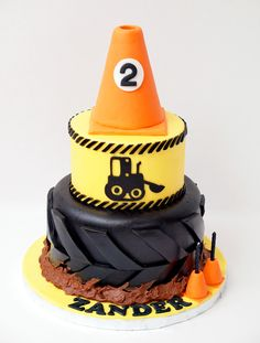 matching the party decor. Pylon is RKT, the rest is cake: choc / vanilla. - matching the party decor. Pylon is RKT, the rest is cake: choc / vanilla. - -- matching the party decor. Pylon is RKT, the rest is cake: choc / vanilla. Construction Party Cakes, Construction Birthday Parties, 3rd Birthday Parties, Boy Birthday, Birthday Ideas, 3 Year Old Birthday Party Boy, Construction Design, Third Birthday, First Birthdays