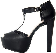 Breckelles Women's BRINA-21 Peep Toe T-Strap Platform Sandals Black 7.5 Price:$31.75