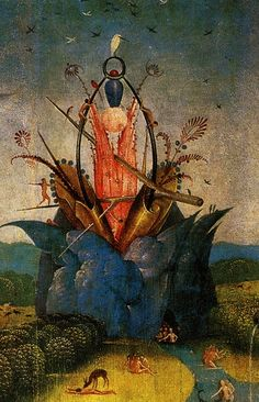 Hieronymus Bosch, The Garden of Earthly Delights (detail) central panel The four sides of the world.  Tumblr