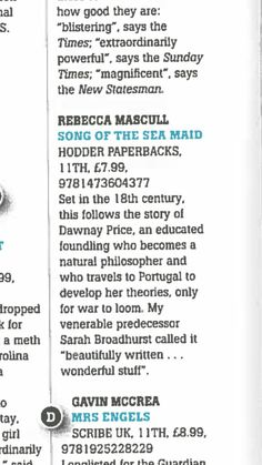 Lovely to see the book in the Bookseller magazine paperback preview.