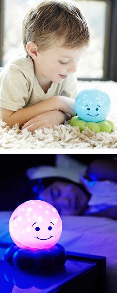 Soothing night light that projects stars and fish, shuts off after 45 minutes.