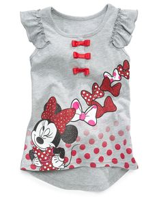 Disney Kids Shirt, Little Girls Minnie Mouse Flutter-Sleeved Tunic - Kids Girls - Macys Girls Tees, Shirts For Girls, Kids Shirts, Disney Outfits, Outfits For Teens, Boy Outfits, Disney Girls, Disney Princess, Tween Fashion