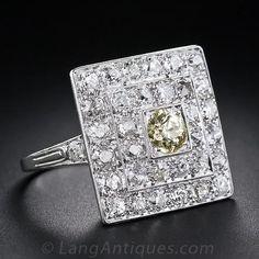 Fancy Color Diamond Art Deco Ring - Antique & Vintage Diamond Rings - Vintage Jewelry