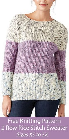 Free Sweater Knitting Pattern in 2 Row Repeat Rice Stitch - Long-sleeved color-blocked pullover knit in stockinette with a 2 row repeat rice stitch. Women's Size XS/S, M, L, XL, Aran weight yarn. Designed by Yarnspirations Design Studio. Jumper Knitting Pattern, Jumper Patterns, Easy Knitting, Knitted Heart Pattern, Free Knitting Patterns For Women, Knitting Designs, Knitting Projects, Knit Fashion, Knit Crochet