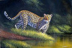 Leopard at Sunset by Jane Wanjeri, female artist of Kenya Kenyan Artists, Panther, Africa, Female Artist, Sunset, Google, Animals, Laminas Para Decoupage, Panthers