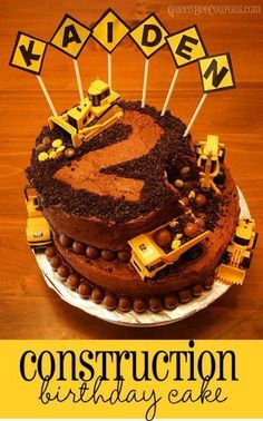 Construction Cake  DIY ideas for a fun construction themed birthday party!  Queen Bee Coupons