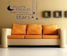 Amazon.com: Wall Art Vinyl Sticker Decal Mural Decor Art Shoot For Moon Stars Quote #1082: Home & Kitchen
