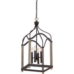 "Foyer option.   29.00"" H x 13.00"" W x 13.00"" D.  Quoizel BRG5204WT Cage chandelier wstrn brnz 4lts"