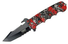 9 Defender Xtreme Spring Assisted Folding Knife Red Zombie Blood Handle >>> Check out this great product.(This is an Amazon affiliate link and I receive a commission for the sales)