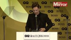 Benedict Cumberbatch accepts his GQ award 2014