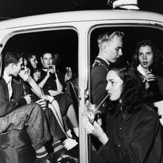 1950s...teens hanging out at a drive-in