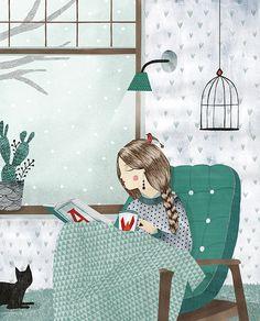 """bibliolectors:  """"Me espera una larga tarde, calentita y lectora. me acompañáis? (ilustración de Lobke van Aar)  """""""