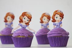 Plantillas gratis para Cupcakes de princesa Sofia. #FiestaPrincesaSofia
