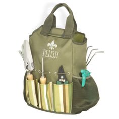 This bag includes gloves, water spray bottle, shears, dandelion weeder, trowel, hand rake and spade, with a pocket for each.
