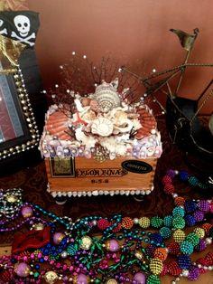 Seashells on Cigar Box