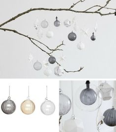 Boules de Noël verre strié transparent gris nude Hüsbch  http://www.homelisty.com/decoration-noel-scandinave/