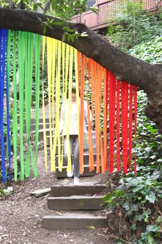 Rainbow color streamers for colorful party decorations. More