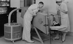 This photo, taken in March 1940, shows a Polio patient in an iron lung at the Scots Mission Hospital in Tiberias, Palestine. Polio often weakened the muscles used in breathing to the point where an iron lung kept the patient alive.