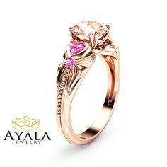 14K Rose Gold Morganite Engagement Ring Heart by AyalaDiamonds