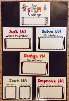 STEM anchor charts for early childhood and elementary students! Laminate, write with Vis a Vis markers, and use as a whole class over and over! STEM Challenges   STEM Activities