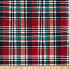 Madras Plaid Navy/Red/Green from @fabricdotcom  This madras plaid fabric features a bright and diverse yarn dyed plaid design. It is very lightweight and perfect for blouses and shirts.