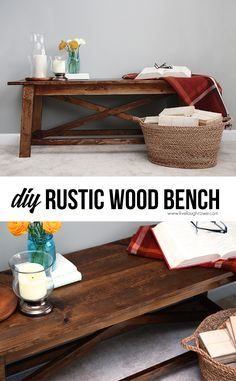 DIY Rustic Wood Bench from The Handbuilt Home by Ana White. Fabulous project for beginners too!livellaughrow… DIY Rustic Wood Bench from The Handbuilt Home by Ana White. Fabulous project for beginners too! Furniture Diy, Rustic Diy, Rustic Bench, Furniture Plans, Diy Woodworking, Wood Diy, Rustic Wood, Home Diy, Rustic Wood Bench