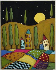folk art quilt LUV this Landscape Quilts, Arte Popular, Naive Art, Whimsical Art, Art Plastique, Elementary Art, Fabric Art, Textile Art, Art Lessons