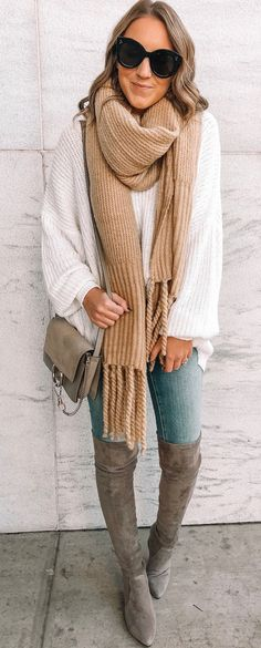 brown scarf and white sweater Black Long Sleeve Shirt, Long Sleeve Shirts, Perfect Fall Outfit, White Sweaters, Blue Jeans, Fall Outfits, Zip Ups, Black Leather