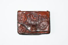 Vintage 60s Oversize  Hand Tooled Leather by redpoppyvintageshop, $52.00