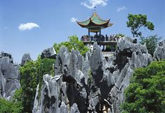 """An old local saying says, """"If you have visited Kunming without seeing the Stone Forest, you have wasted your time."""" The Shilin Stone Forest covers 96,000 acres with large and small stands of stone """"trees."""" They actually are karst formations that stand on the earth like stalagmites and looking like petrified trees. Believed to be more than 270 million years old, the stone trees emerged as limestone eroded. Legend says this is the birthplace of Ashima, who was forbidden to marry the man she…"""