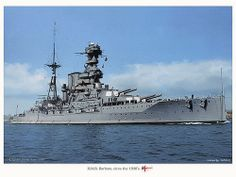 A fine colourised photo of HMS Barham between the wars.