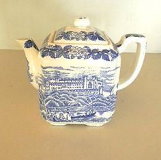 vintage blue toile ceramic tea pot by snugsnuggery on Etsy, $24.00