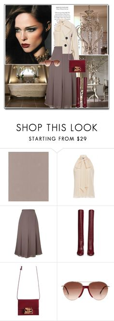 """""""Taupe & Burgundy"""" by littlefeather1 ❤ liked on Polyvore featuring Graham & Brown, Prabal Gurung, Jacques Vert, Diane Von Furstenberg, Smoke x Mirrors, topsets and polyvoreeditorial"""