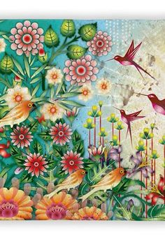 Malba s kolibříky na kameni