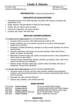Resume Objective Statement For Customer Service   Resume