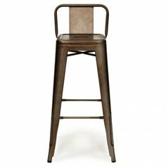 Xavier Pauchard Rustic Gun Metal Stool (Low Back Rest) - Xavier Pauchard from Cult Furniture UK