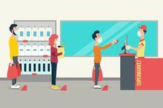 Supermarket Design, Bus Terminal, People Shopping, Simple Illustration, Instagram Design, Keeping Healthy, Illustrators, Kid Kid, Vector Free