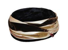 1960s Wrapped Turban Hat by  Mr. D,  Hatpin, Black, Brown, Cream, Green Velvet