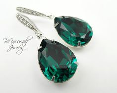 Emerald Green Earrings Bridal Teardrop by BeYourselfJewelry