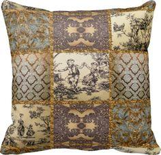 antique toile pillows