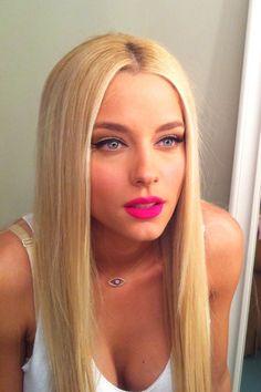 doukisa nomikou blonde beautiful straight hair Greek beauty neon pink lips blue eyes