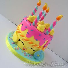 """Mandys Sweets - Shopkins inspired """"Wishes"""" cake / Family goodtimes at my niece's birthday party.kids had a blast as always! Bolo Shopkins, Fete Shopkins, Shopkins Birthday Cake, Shopkins Party Ideas, Cake Birthday, Pastel Shopkins, 6th Birthday Parties, Birthday Ideas, Girl Cakes"""