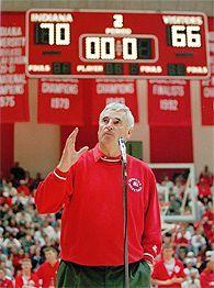 Bob Knight - Indiana University 1971- 2000.  NCAA champions 1976, 1981 & 1987.