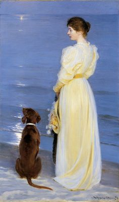 Summer Evening at Skagen. The Artist's Wife and Dog by the Shore by P.S. Krøyer, 1892.