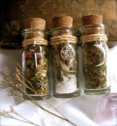 eirecrescent:  3 Witchy Herbal Blends: Love, Sacred Space and Prophecy here: http://www.etsy.com/listing/81955137/3-essential-witchy-herbal-blends-love Love Bottle (1.)  Opening your heart so love and happiness may find you:herbs include- lavender, rosebuds, chamomile, jasmine, rosemary.This bottle has a vintage key on the outside symbolizing the ability to unlock your heart so that love may come.Sacred  Space bottle (2.) Cleansing your magical space or protecting your home  from negative…