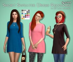 Short Sweater Dress Recolors at Tukete via Sims 4 Updates